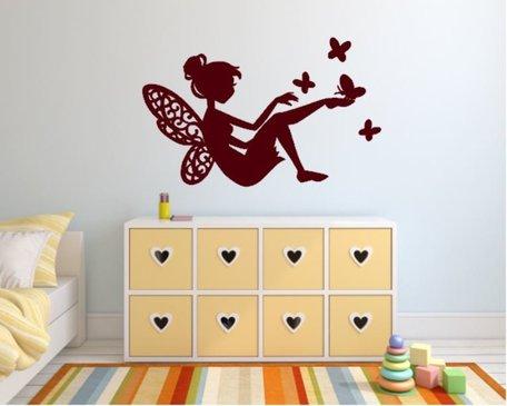 Sticker Fee met vlinders bordeaux rood 40 x 25 cm | Rosami