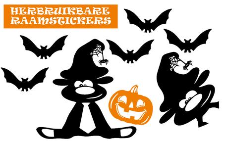 Raamstickerset herbruikbaar Halloween Pompoen Hallow-beest & vleermuizen | Rosami