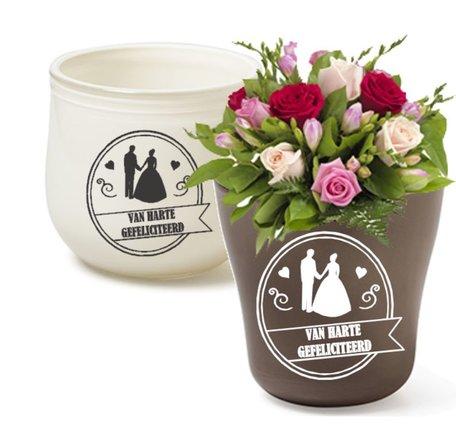 Van harte gefeliciteerd huwelijk Etiket / Sticker | Rosami