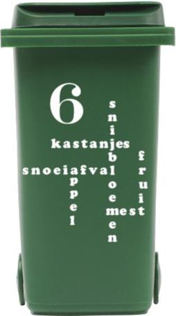 Sticker voor kliko container Gft met huisnummer | Rosami