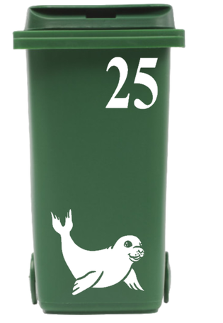 Klikosticker Zeehond met huisnummer | Rosami