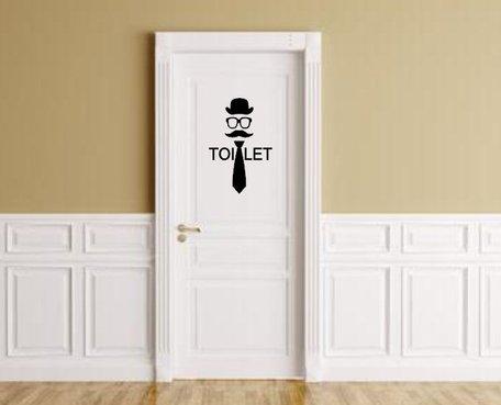 Sticker heren toilet stropdas hoed bril & snor | Rosami