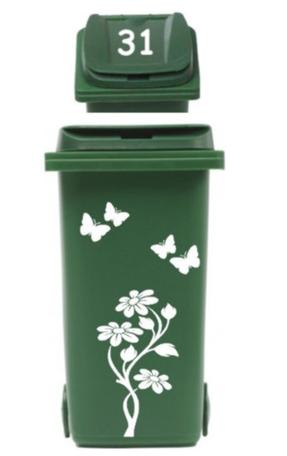 Set sticker kliko container bloem met vlinders & huisnummer | Rosami