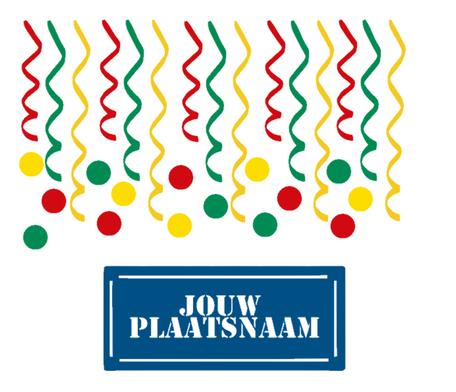 31 delige stickerset herbruikbaar serpentine, confetti & met jouw plaatsnaam (bord ) | Carnaval