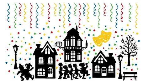 Raamstickerset 156 delig Carnaval silhouet huisjes & confetti herbruikbaar | Rosami