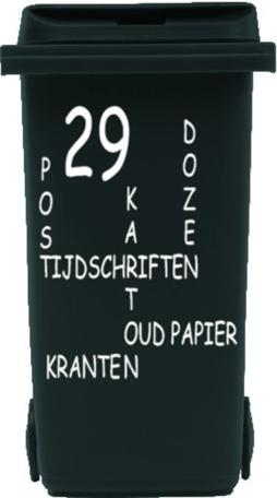 Sticker voor papier kliko container met huisnummer | Rosami