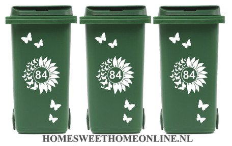 Voordeelset Container Sticker zonnebloem / vlinders met huisnummer 15 delig | Kliko | Rosami
