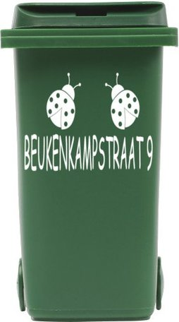 Sticker straatnaam + nummer lieveheersbeest voor kliko container | Rosami