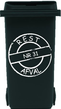 Sticker cirkel voor kliko container restafval met huisnummer | Rosami