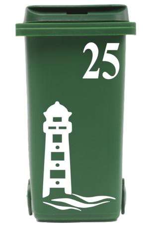 Klikosticker vuurtoren & golven met huisnummer | Rosami
