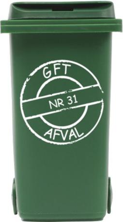 Sticker cirkel gft kliko container met huisnummer | Rosami