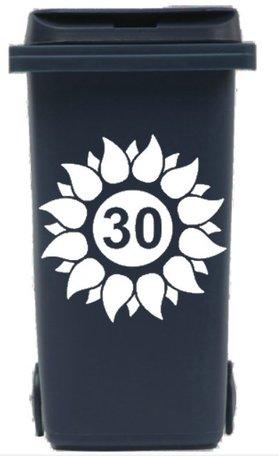 Sticker zonnebloem voor afvalcontainer / kliko met huisnummer | Rosami