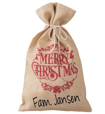 Jute cadeau zak met naam Merry Christmas