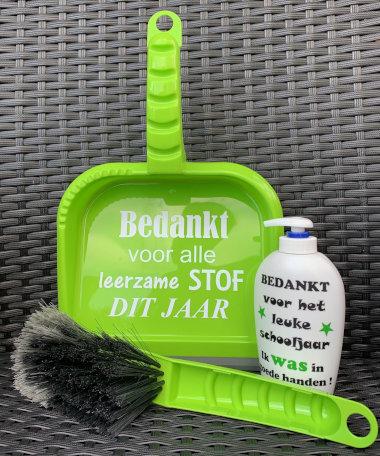 Kadoset Handveger & Blik Leerzame stof & Zeeppomp Was in goede handen groen | Juf & Meester