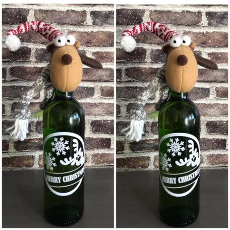 Set 2 x etiket + Rendier hals versiering voor fles wijn | Rosami