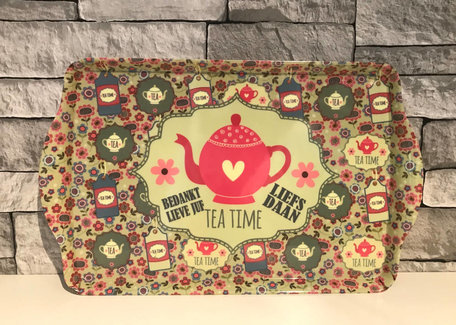Dienblad Tea Time - Bedankt lieve juf met naam | Juf & Meester