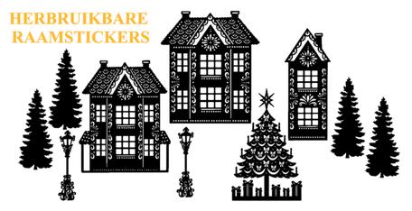 10 delige Raamsticker set herbruikbaar huisjes - kerstboom - lantaarnpaal | Rosami Decoratiestickers