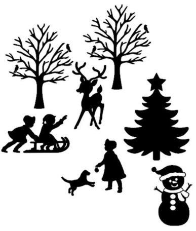 Uitbreidingsset 2 raamsticker kerst wintertafereel 2 herbruikbaar statisch | Rosami
