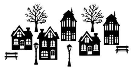 Basisset 2 Raamsticker straat met 5 huisjes Herbruikbaar statisch | Rosami