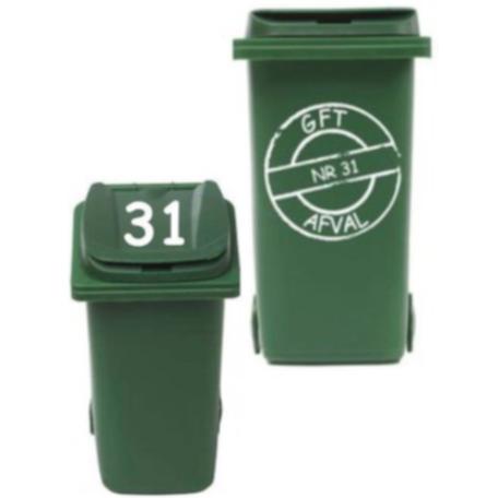 Sticker set cirkel gft kliko container + Deksel nummer | Rosami