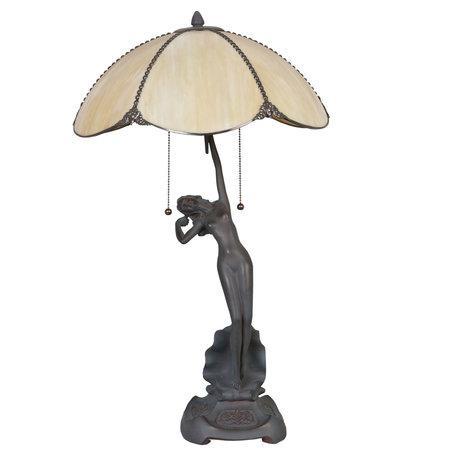 Tafellamp Tiffany ø 41*70 cm E27/max 2*60W Goudkleurig | 5LL-5719 | Clayre & Eef