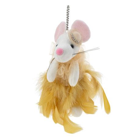 Decoratie knuffel muis  Geel | MLLLTW0005 | Clayre & Eef