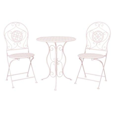 Tafel + 2 stoelen ø 60*70 / 40*40*92 cm (2) Wit | 5Y0189 | Clayre & Eef