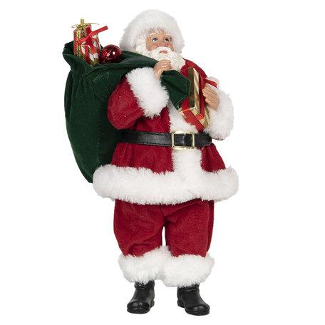Decoratie kerstman 14*14*28 cm Rood | 64645 | Clayre & Eef