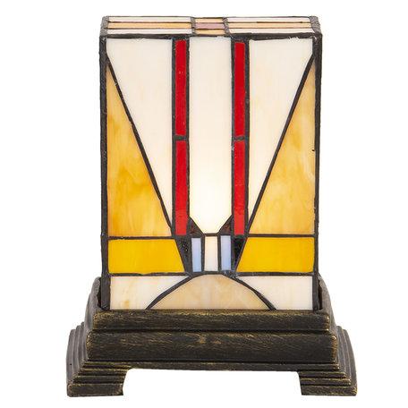 Tafellamp Tiffany 23*13*17 cm E14/max 1*25W Meerkleurig | 5LL-6074 | Clayre & Eef