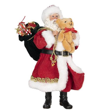Decoratie kerstman 14*14*28 cm Rood | 64646 | Clayre & Eef
