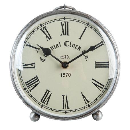 Tafelklok ø 16*6 cm  / 1*AA Zilverkleurig | 6KL0365 | Clayre & Eef