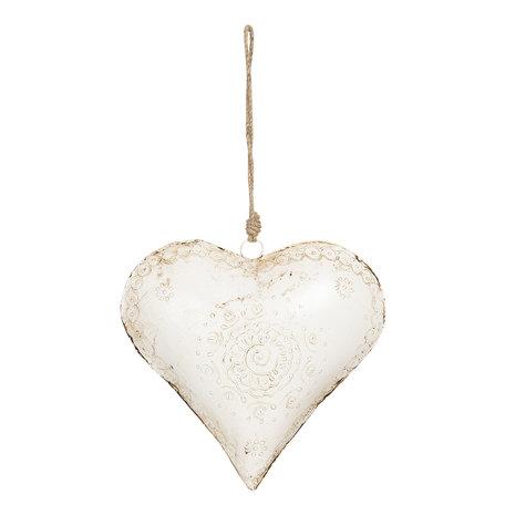 Decoratie hanger hart 27*12*27 cm Wit | 6Y4167 | Clayre & Eef