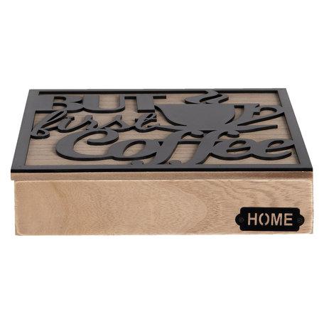 Koffie capsule doos 24*24*5 cm Bruin | 6H1935 | Clayre & Eef