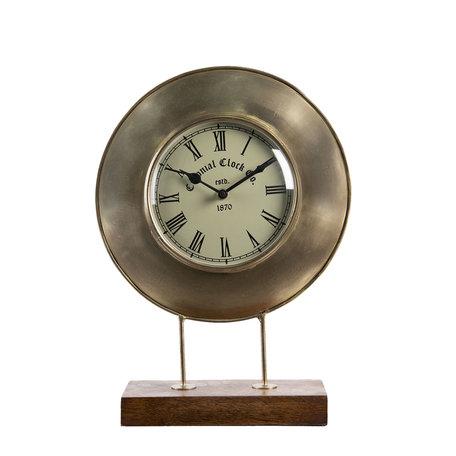 Tafelklok 27*9*36 cm / 1*AA Bruin | 6KL0661 | Clayre & Eef
