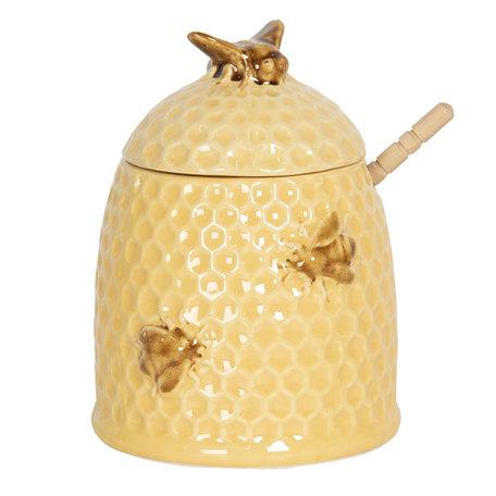 Honingpot met lepel ø 11*14 cm Geel   6CE1147   Clayre & Eef