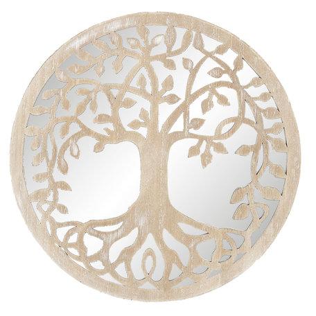 Wanddecoratie spiegel ø 30*1 cm Bruin   64672   Clayre & Eef