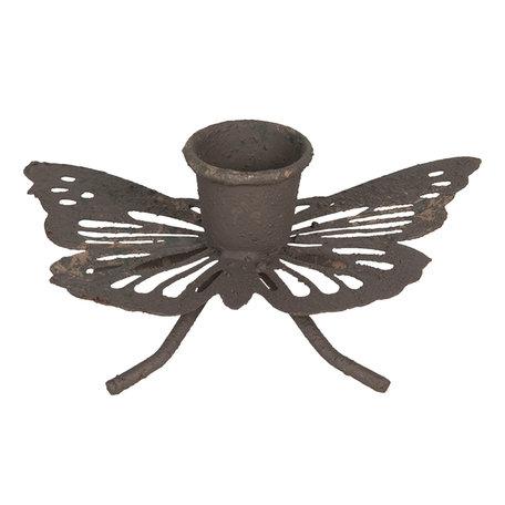 Kandelaar vlinder 9*6*4 cm Bruin | 6Y4062 | Clayre & Eef