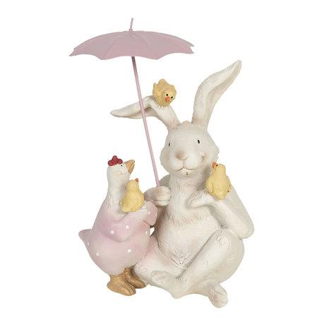 Decoratie konijn met paraplu 12*11*16 cm Multi | 6PR3190 | Clayre & Eef