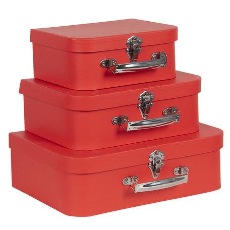 Decoratie koffer (set van 3) 30*21*9/25*18*9/20*16*8 cm Rood | 64746 | Clayre & Eef