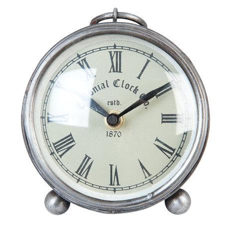 Tafelklok ø 11*5 cm / 1*AA Zilverkleurig | 6KL0366 | Clayre & Eef