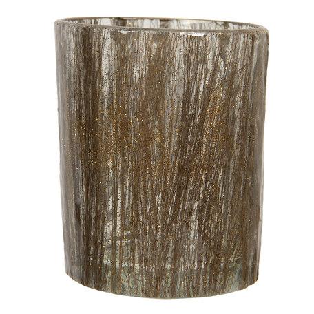 Waxinelichthouder ø 10*13 cm Bruin   6GL2852   Clayre & Eef