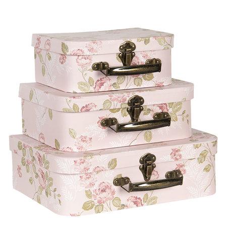 Decoratie koffer (set van 3) 30*21*9/25*18*9/20*16*8 cm Roze | 64751 | Clayre & Eef