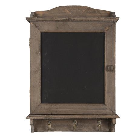 Krijtbord met haken 34*8*47 cm Bruin | 6H1950 | Clayre & Eef