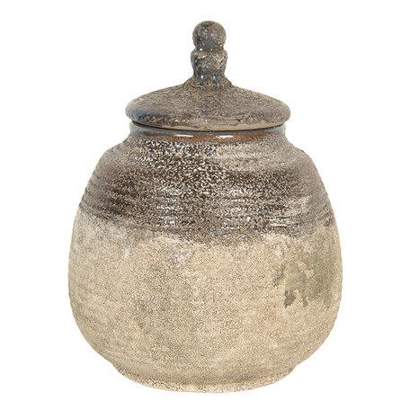 Decoratieve pot ø 15*19 cm Bruin   6CE1227   Clayre & Eef