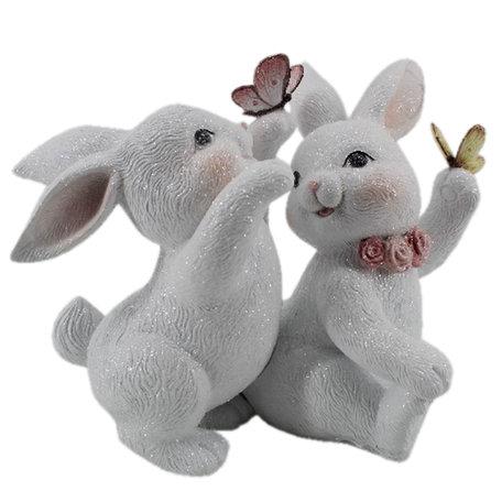 Decoratie konijnen 27*16*21 cm Wit | 6PR3142 | Clayre & Eef