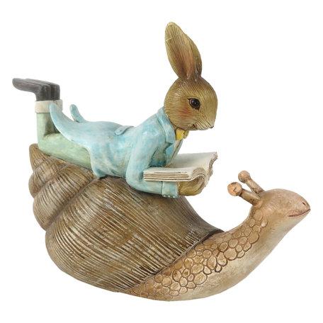 Decoratie liggend konijn op slak 16*8*14 cm Multi | 6PR3243 | Clayre & Eef