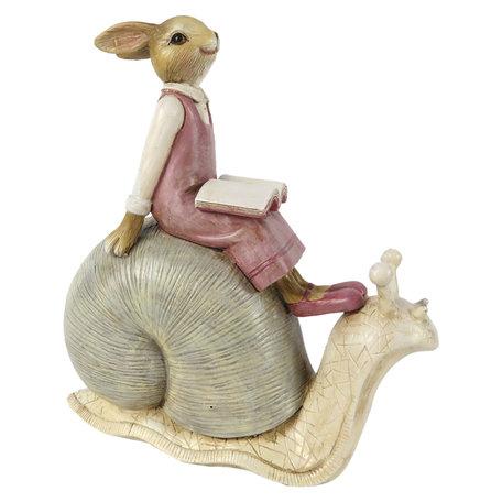 Decoratie konijn zittend op slak 15*8*16 cm Multi | 6PR3244 | Clayre & Eef