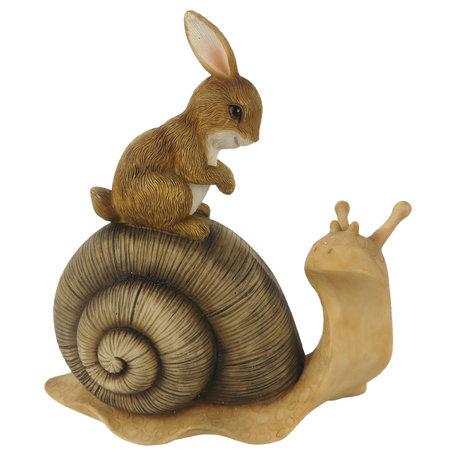 Decoratie konijn zittend op slak 13*6*14 cm Multi | 6PR3247 | Clayre & Eef