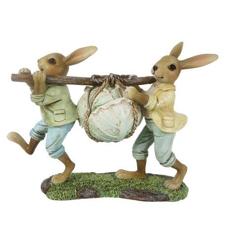 Decoratie konijnen 21*6*15 cm Multi | 6PR3254 | Clayre & Eef