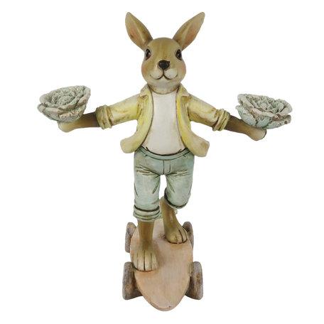 Decoratie konijn op skateboard 14*11*16 cm Multi | 6PR3255 | Clayre & Eef